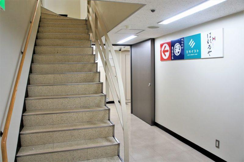 ミライストが入る敷島北一条ビルの階段