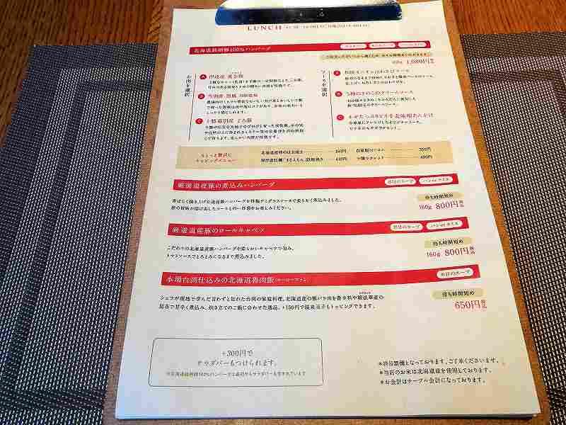 ケイズテーブルのメニュー表