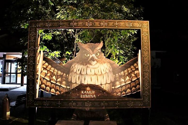 KAMUY LUMINA(カムイルミナ)/阿寒湖 受付のある観光船乗り場では、フクロウとの記念撮影も