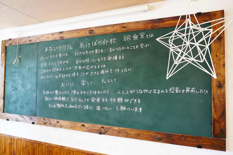 壁には大きな黒板を配置