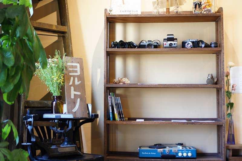 木の棚にカメラがディスプレイされている店内