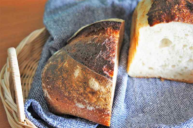 籠に入ったパンがテーブルに置かれている