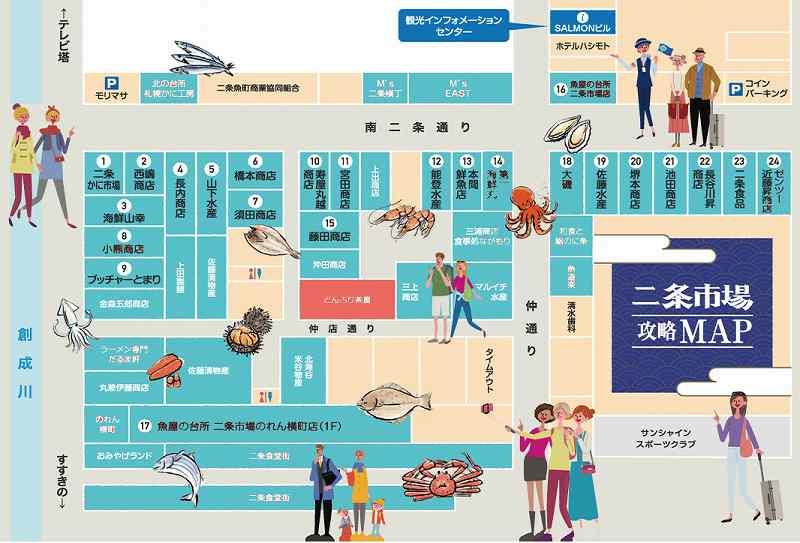 札幌二条市場の店舗攻略マップ※公式HPより引用。