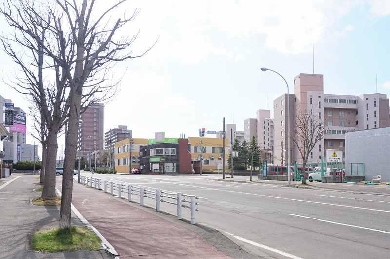 左手前に街路樹、右奥には住宅、店舗が建つ広い道路
