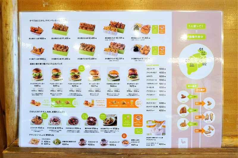 チキンやハンバーガーなどの写真がならぶメニュー表