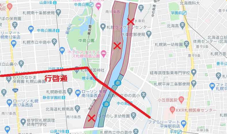 豊平川河川敷で、南大橋から南19条大橋までの区間のうち、火気使用可能な場所