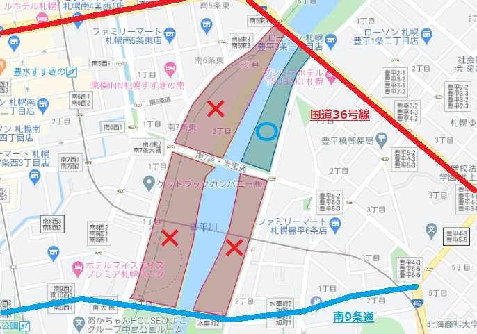 豊平川河川敷で火気の使用が認められている場所