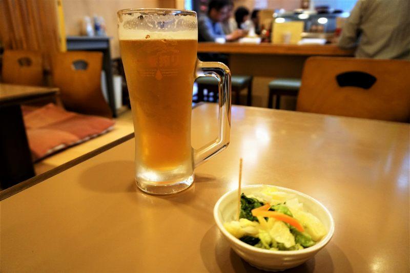 鳥銀平岸店 の ビール と お通し
