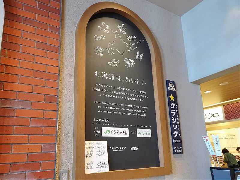 北海道のイラストが描かれた黒板が壁に貼られている