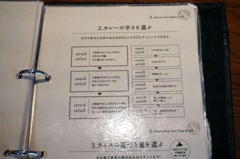 札幌らっきょのスープカレー辛さ表