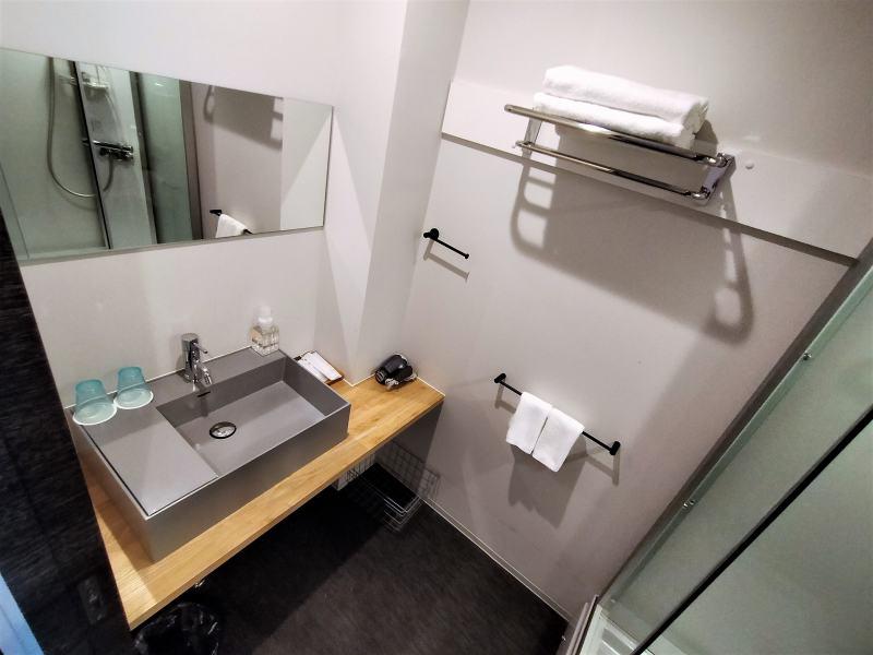 ホテルポットマムのダブルルームの洗面・シャワー