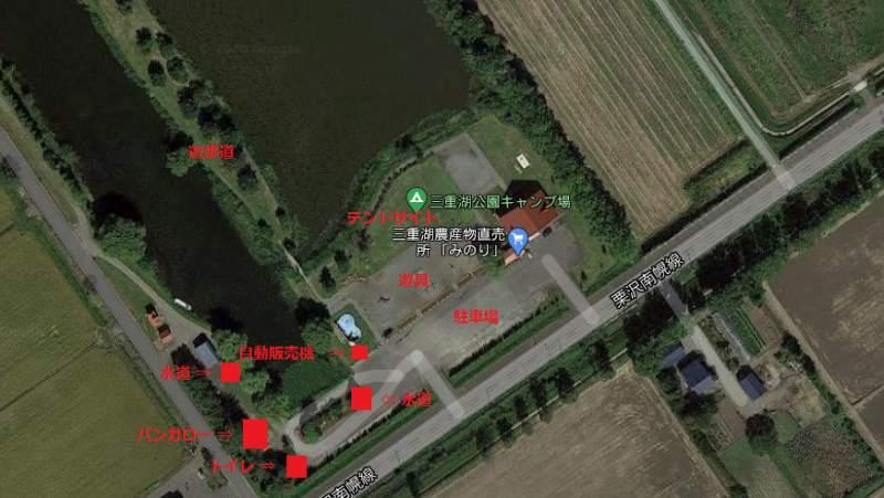「三重湖公園キャンプ場」の全体図