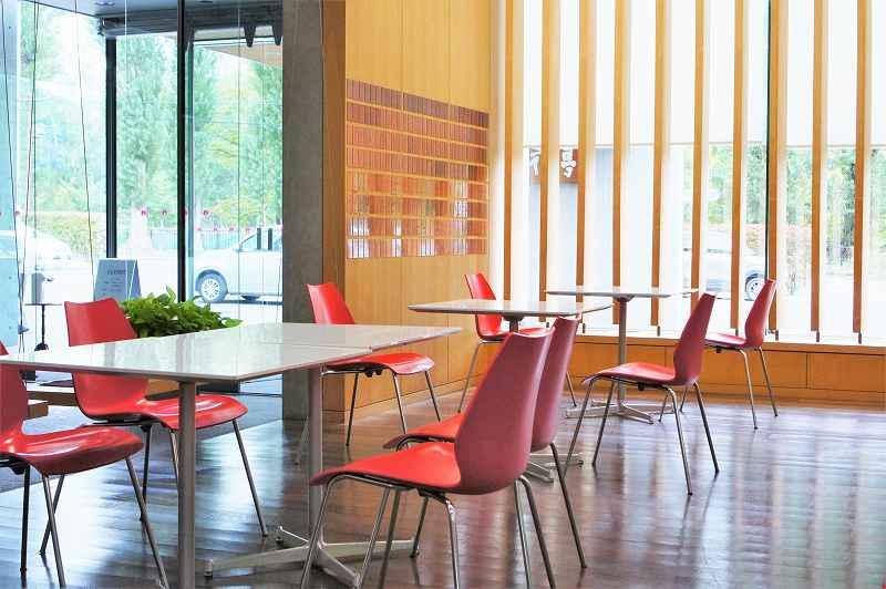 自然光がたっぷり入る六花亭喫茶室 真駒内六花亭ホール店の店内