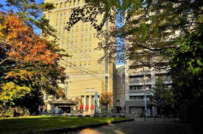 「ホテルライフォート札幌」と緑豊かな「中島公園」の様子
