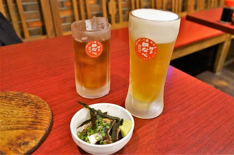 小倉鉄なべ総本店のビールとごま鯖