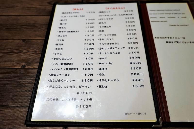 鶏右衛門のメニュー表