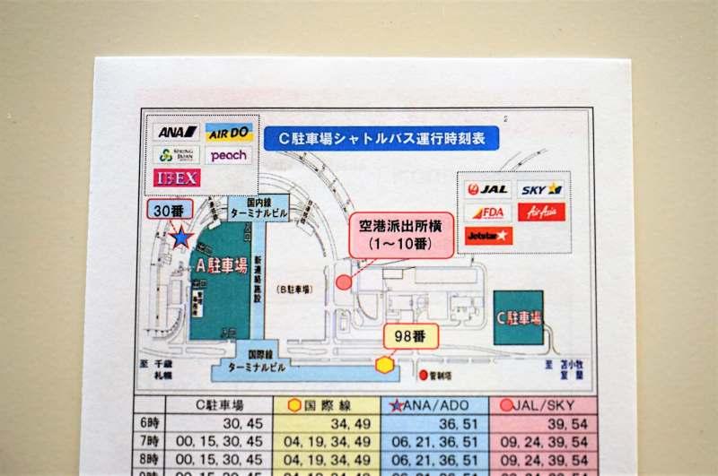無料シャトルバスの発着場マップ