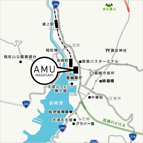 アミュプラザ長崎への地図