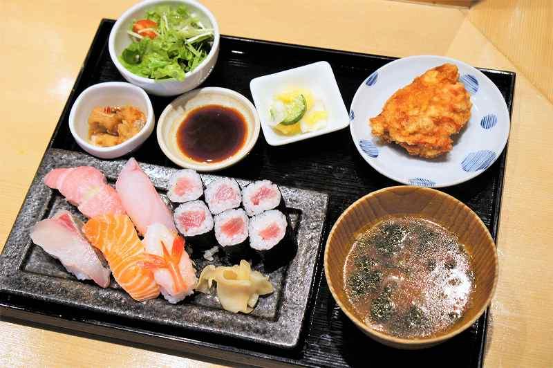 福禄寿の季節の握り寿司御膳がテーブルに置かれている