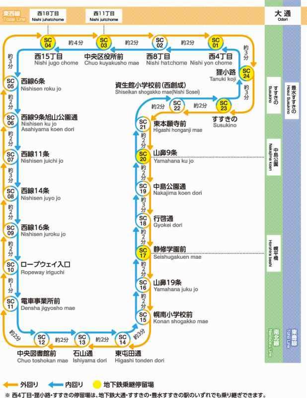 札幌市電 路線図