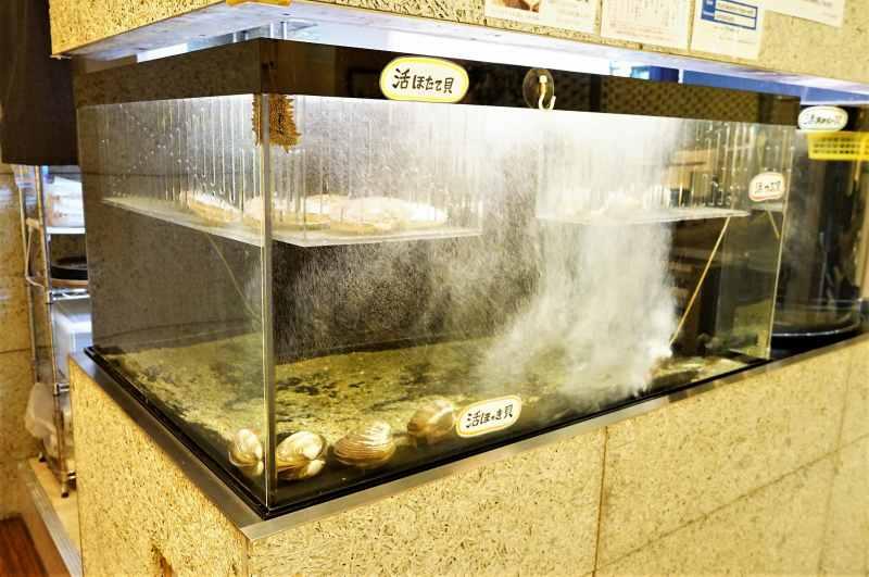 ホタテ、ホッキ貝などが入った生簀が置かれている「函館うにむらかみ札幌店」の内観