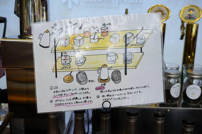 コーヒーの淹れ方説明書がカウンターに置かれている