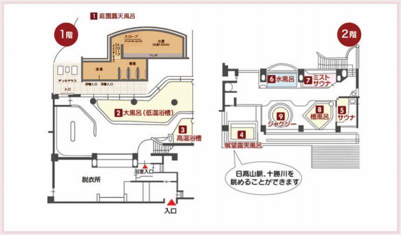 十勝川温泉第一ホテル 大浴場 見取り図