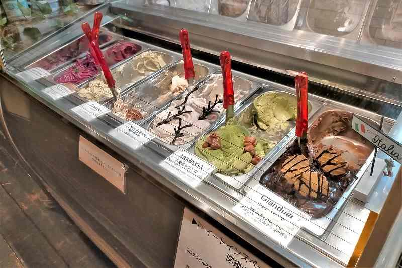 「生パスタ専門店 Le Varo(レヴァーロ)」の店内にあるジェラートのガラスケース