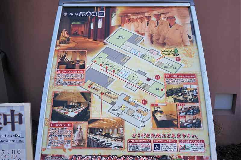 「おたる政寿司 本店」の店内案内図が置かれている