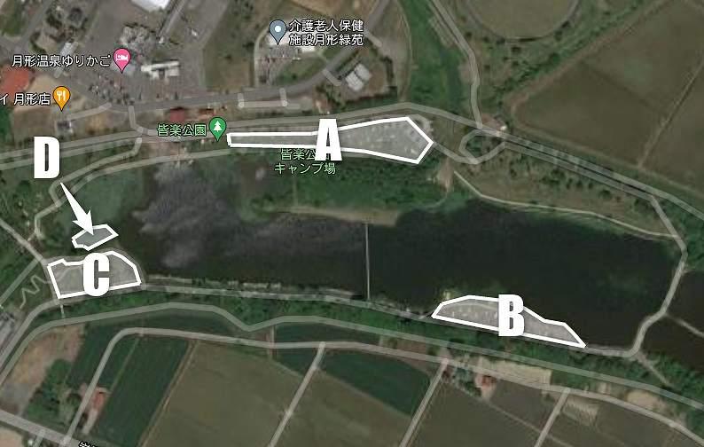 皆楽公園キャンプ場のテントサイト配置図