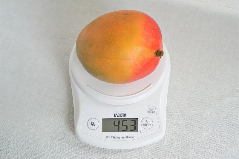 スケールにマンゴーがのせられている様子