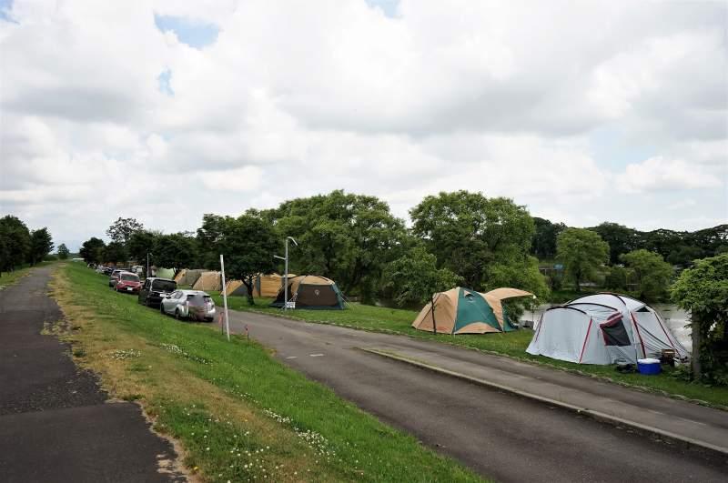 皆楽公園キャンプ場のテントサイト