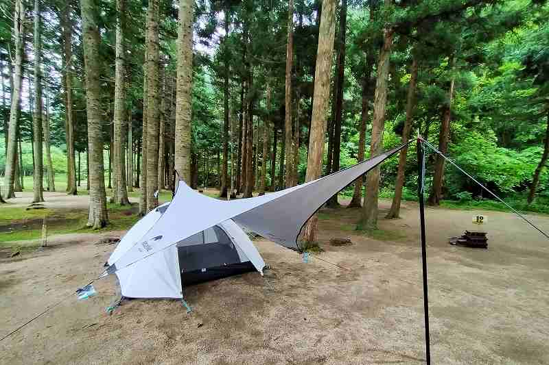 戸井ウォーターパークキャンプ場のテントサイト