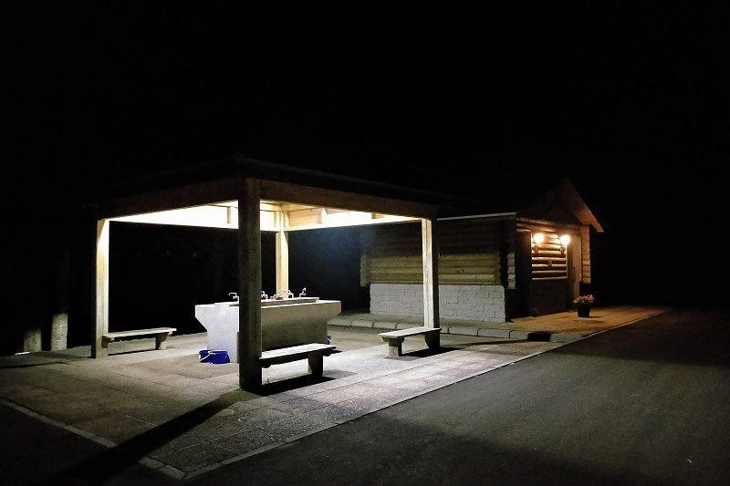 戸井ウォーターパークキャンプ場のフリーテントサイトの夜