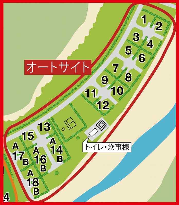 戸井ウォーターパークキャンプ場のオートサイト全体図