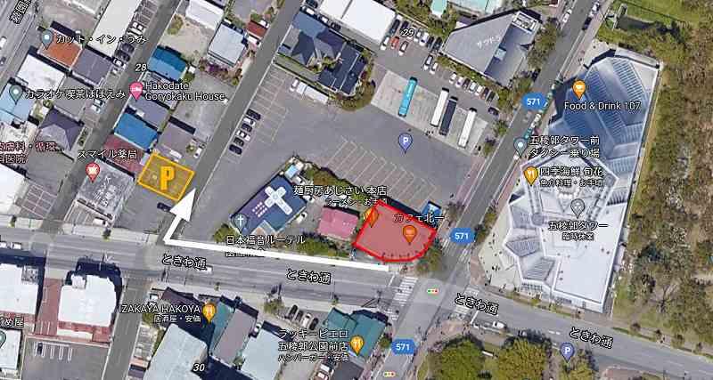 あじさいの契約駐車場への地図